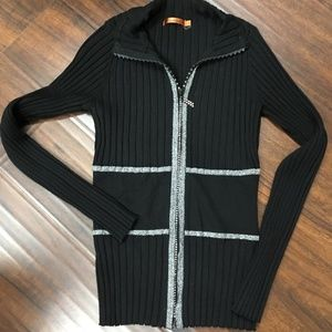 Black crystal & silver accent zip front sweater-Sm